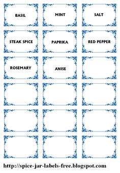 Spice jar labels and template to print free Herb Labels, Spice Jar Labels, Spice Jars, Printable Labels, Free Printables, Label Templates, Templates Free, Steak Spice, Organization Hacks