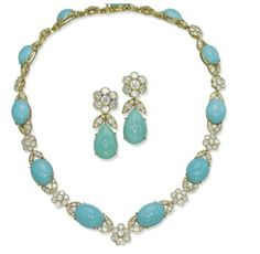 A SET OF TURQUOISE AND DIAMOND 'MAZURKA' JEWELLERY, BY VAN CLEEF & ARPELS