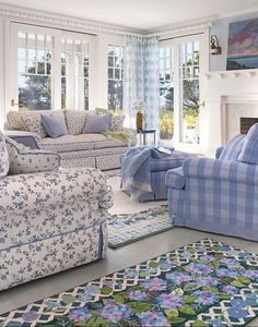 Beach Cottage Decor in Blue White and Lavender featured on Between Naps on the Porch