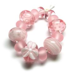Beads By Laura: Lampwork glass 'Pink Lemonade' beads by Laura Sparling