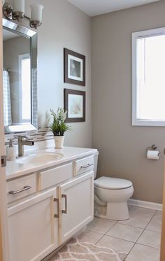 Paint makeovers-8  Megan from 'It's a Grandville Life' has a guest bathroom reveal with a pretty awesome before and after. Paint, anyone?