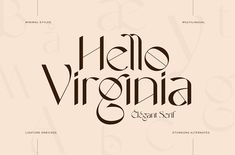 Handwritten Typography, Typography Logo, Lettering, Fancy Fonts, Cool Fonts, Awesome Fonts, Best Sans Serif Fonts, Minimalist Font, Virginia