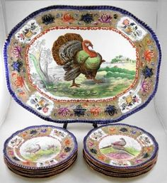 Very colorful turkey platter and plates ~ Nancy's Daily Dish: Talking Turkey.... and Transferware