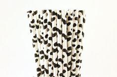 Black Cow Print Paper Straws-Cow Print Mason Jar Straws-Black and White Paper Straw-Black Straws-Farm Birthday Party Straws-Wedding Straws