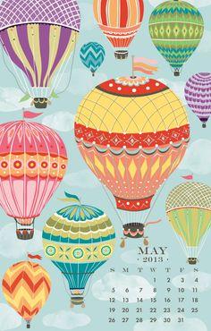 Hot Air Balloons, May 2013 (Paper Source) Retro Illustration, Illustrations, Paper Source, 2019 Calendar, Desk Calendars, Hot Air Balloon, 9 And 10, Eat Greek, Balloons