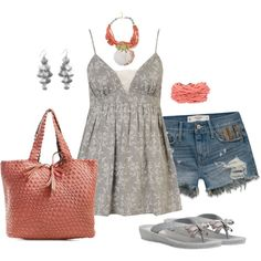 """Coral and Gray"" by debbie-probst on Polyvore"