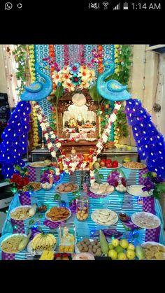 Decoration Ideas for Krishna Janmashtami - Janmashtami Decoration Janamashtami Decoration Ideas, Gauri Decoration, Mandir Decoration, Ganpati Decoration At Home, Ganapati Decoration, Diwali Decorations, School Decorations, Festival Decorations, Flower Decorations
