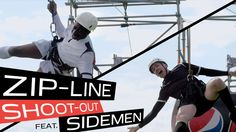 Pepsi Max challenge Miniminter and TBJZL of 'The Sidemen' to a series of Genius Sports Mash-ups. Episode two: Zip-Line Shoot-Out, combining the speed and height of a zip-line and the skill of a penalty shoot-out. Simon and Tobi each pair up with a skilled football free styler to pass them the ball as they fly through the air towards the penalty spot, with each getting 5 attempts to score. Can they beat the surprise special guest Behzinga from the air? Who will win the second challenge?
