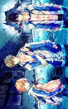 Haru, Nagisa y Makoto // Free ! Manga Anime, Boys Anime, Hot Anime Guys, Anime Love, Manga Art, Anime Art, Awesome Anime, Rei Ryugazaki, Makoharu