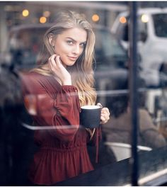 """Marina Laswick - """"Fall is here and morning coffee never tasted better! Photo by Model: """" Coffee Shop Photography, Urban Photography, Lifestyle Photography, Portrait Photography, Fashion Photography, Portrait Shots, Seduction Photography, Window Photography, People Photography"""