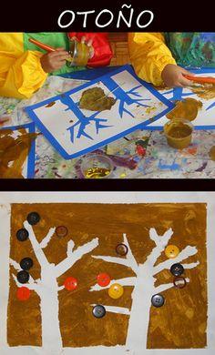 Otoño, enmascarillado, pintar con hojas  botones para decorar.
