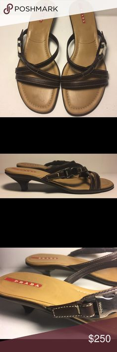 """Prada Kitten Heels in Brown Leather 💯% Authentic Prada Kitten Heels Brown leather upper Silver clasp latch with """"Prada"""" embossed logo Super clean footbed, soles are perfect!  Stacked kitten heel Polyurethane textured outsole Padded leather footbed EUC 😁 Prada Shoes Heels"""