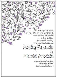"Invitation 5"" x 7"" Portrait. Printable Wedding Invitations Paisley Ashley Suite: Purple and Black"