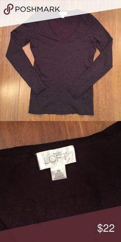 Loft chocolate brown sweater Beautiful deep brown vneck sweater, 64% silk, 32% nylon, 4% spandex. Great condition LOFT Sweaters V-Necks