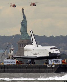 Space Shuttle Enterprise Arrives In NYC At Intrepid Sea, Air And Space Museum