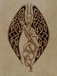 Ireland  pyrography Museum | Celtic Winged Dragon