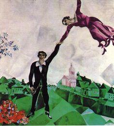 Titel: De wandeling Kunstenaar: Marc Chagall Datum: 1917 Materiaal: Olieverf op linnen Museum: Russisch Staatsmuseum, Leningrad Stroming: Surrealisme