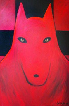 Red Warrior Wolf 2008 by Carole Laroche