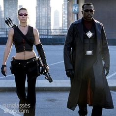 Blade Trinity sees Jessica Biel sporting the Juliet, as Abigail Whistler, a 'Nightstalker' and not to be messed with  Very rare. Price: $875.00  http://www.vintagesunglassesshop.com/item_vs1881.html?gclid=CLm6pevzj8YCFQYzaQodn5wAjA