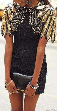 flutter sleeve dress. sequins. #NYE party.