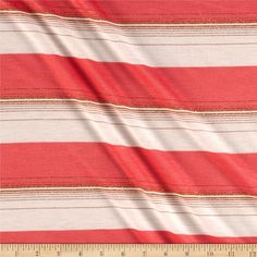 Metallic Blend Jersey Knit Stripes Coral Pink/Gold.White from @fabricdotcom  This soft jersey knit fabric is perfect for T-shirts and tops. It features metallic stripes and 15% stretch across the grain.