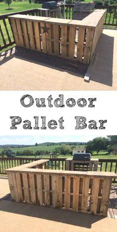 DIY Outdoor Pallet Bar from 1001 Pallets #diy #diypallet