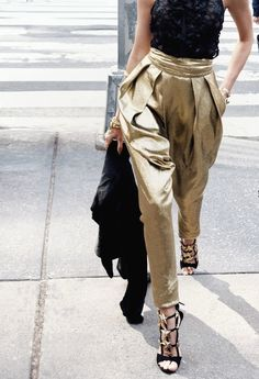Gold Harem Pants and Gold Giuseppe Zanotti's.