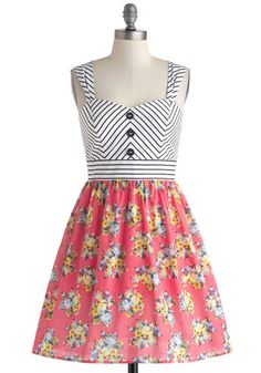 Crete Disposition Dress - Multi, Stripes, Floral, Buttons, Casual, Fit & Flare, Tank top (2 thick straps), Sweetheart, Chevron