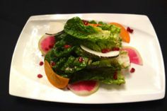 Gusto Seasonal Salad, with gem lettuce, persimmon, pomegrante, feta cheese at Gusto in San Carlos