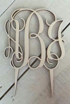 Monogram Wedding Cake Topper - Ready to Paint