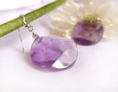 Natural geometric amethyst earrings with 925 Sterling Silver *Free Worldwide Shipping*