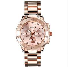 Luxusní hodinky GENEVA růžové – hodinky Na tento produkt se vztahuje nejen  zajímavá sleva e05c0e791a