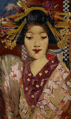 'Geisha Girl', 1894 - George Henry ..Detail The rich surface patterns and sparkling appearance of the beautiful geisha girl illustrate Henry's deft brushwork. Her elaborately dressed hair, embroidered kimono and fan, seen against a patterned screen and stylized representation of Mount Fuji, contribute to the painting's decorative character.