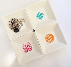 Monogrammed Jewelry Ring Dish by ArentYouCute on Etsy.  Nice little gift idea too.