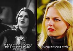 3x15 and 3x22-- It's so sweet, because Emma understands what the Jolly was to Killian. It wasn't just a few planks of wood and a sail. No, it was his home and all he had left of Liam. Emma understood that, because that was what her little yellow bug was to her. It was home, and a reminder of much happier times in her not-so-happy life.