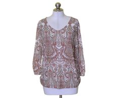 Chico's Peach Beige Off White Paisley Rayon Soft Stretch Knit Top Size 2 #Chicos #KnitTop #Casual