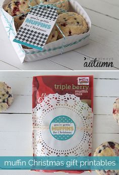"""muffins in a basket made from a paper plate with free #printable tag that says """"you're gettin' muffins for Christmas"""""""