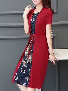 Casual Floral Printed Crew Neck Plus Size Chiffon Dress – fairymiss
