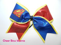 Cheer Bow made with Superman symbol by Cheer Bow Mama