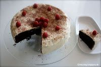 Guinness-Chocolate-Cake -deep black chocolate cake and white frosting
