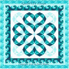 (7) Name: 'Quilting : Heartwaves in Aqua - King size:100'x100'