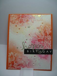 Distress Ink Dahlias, Happy Birthday...