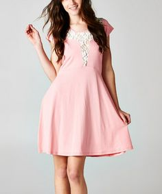 Look what I found on #zulily! Pink & White Lace Cap-Sleeve Dress #zulilyfinds