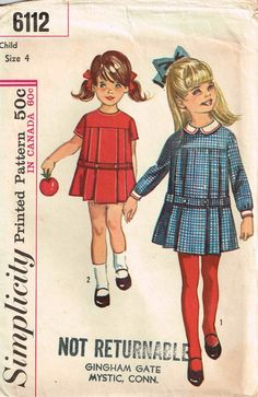 Vintage 1960s Girls Sewing Pattern Pleated Dress with a Peter Pan Collar Simplicity 6112 Sewing Pattern by PeoplePackages