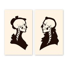 Halloween fun (or any time, really), except I don't know where the guys spine is going. [Temple of Commerce — Skullhouettes Print Duo]