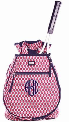 Pier Red   Navy Monogrammed Tennis Backpack - GirlyTwirly.com 6513b58927e15