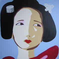 min første geisha 1x1 meter akryl på lærred