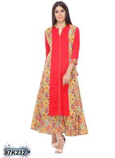 Amiable Red Coloured Rayon Kurti