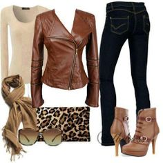 Browns and Blacks, great Jacket, need flat boots, touch of leopard, I AM a Jersey Girl~!