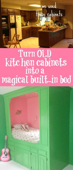 Old Kitchen Cabinets Into Built-In Bed | Kitchens, Bedrooms and Room